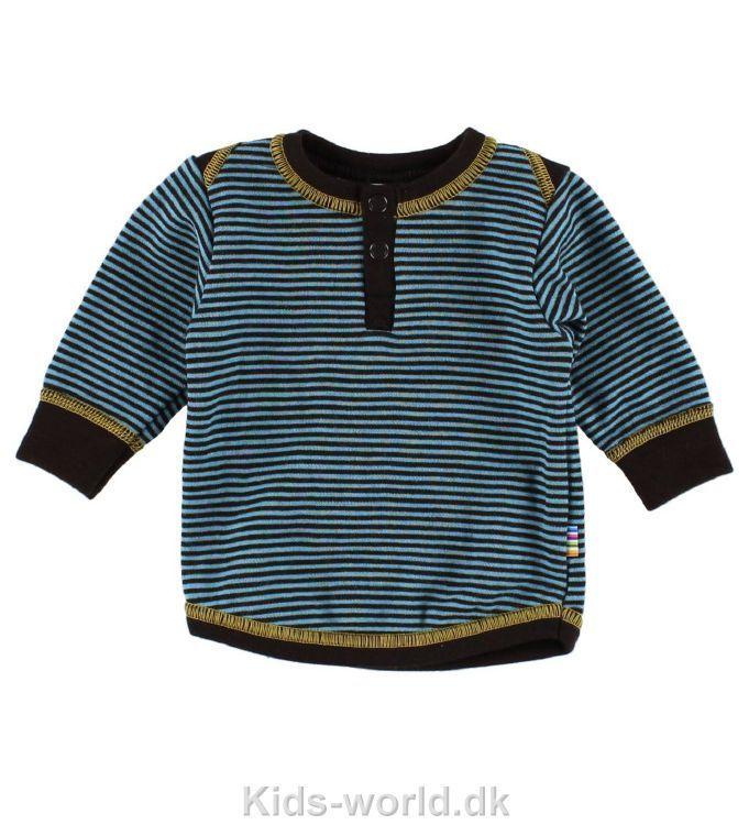 Joha Bluse - Uld - Blå Stribet - Børnetøj med fri fragt.