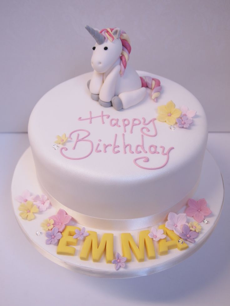 Pastel Birthday Cake with a Handmade Sugarpaste Model of a Unicorn by Bath Cake Company