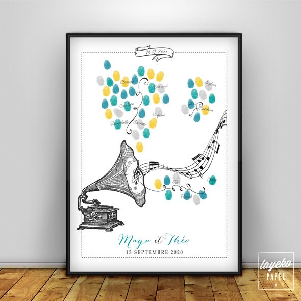 Affiche arbre à empreinte Gramophone pour livre d'or pour votre mariage.