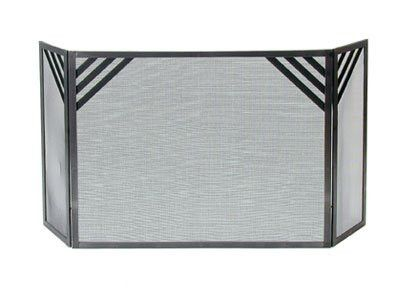 Enclume Chevron Fireplace Screen, Hammered Steel