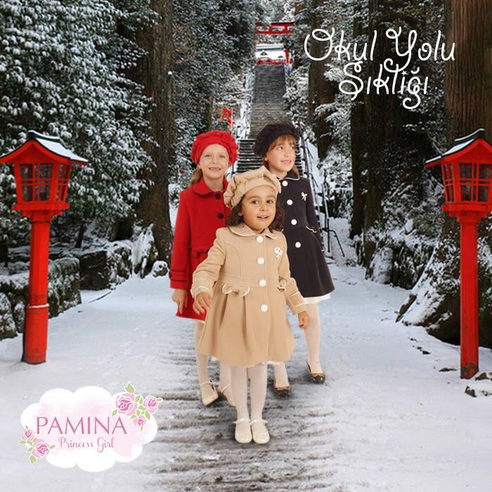 Pamina kızları okula dönüş yolunda hem şık, hem de sıcacıklar. smile ifade simgesi  Pamina girls are stylish and warm on the way to school...   #warm #winter #coat #fashionkids #çocukgiyim