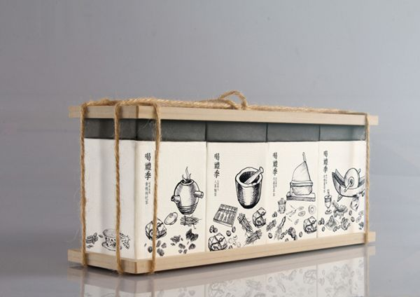 Taiwan designer Cheng Jie Sung created an interesting packaging design, which plays on the four seasons of the year and the traditional herbal store.