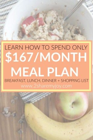 This frugal meal plan gives you a very affordable option to serve breakfast, lunch and dinner on a budget yet it is healthy. The breakfast bowl contains fresh fruits and the lunch is served with raw vegetables. The dinner recipes are all pasta meals and if your budged allows it, you can add more toppings or sides to it.