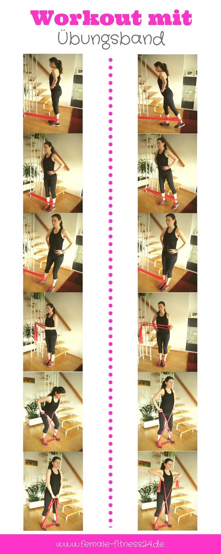 Workout | Training mit Übungsband bzw. Theraband. Bei diesen Übungen werden Beine, Po und Schultern trainiert.
