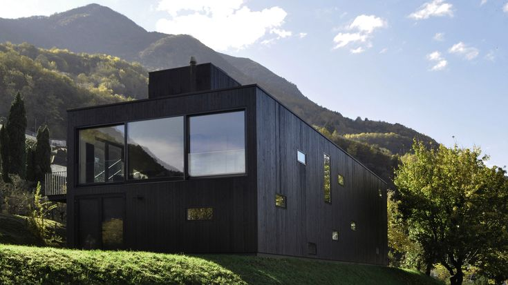 This lake-view house was developed by designers Nicole Lachelle and Christian Niessen to demonstrate the capabilities of prefabricated wood construction