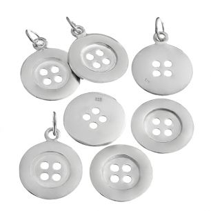 Pendant - A REAL BUTTON - Sterling Silver or 9ct Gold Cute as a button! These real buttons are available in solid Sterling Silver or 9ct Gold.  You can choose to wear it with a fine chain, leather or ribbon threaded through the button holes, or if you would like your button to look more like a pendant choose the soldered loop version.