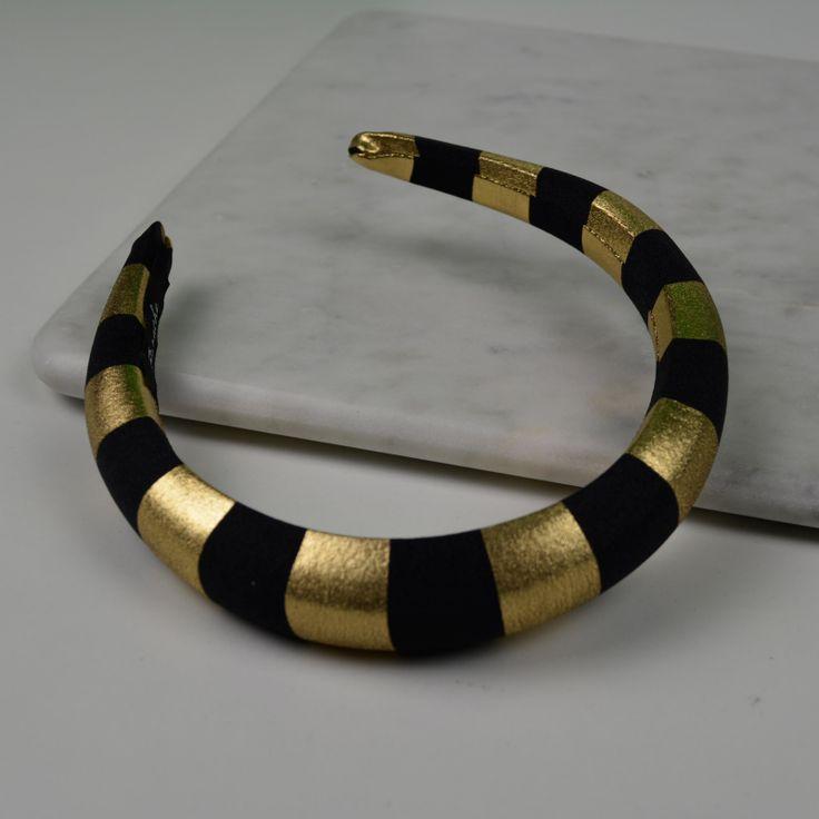 Padded Band - Striped/Gold. 2.5cm  #gabianona #hairfashion #happyhead #blackandgold