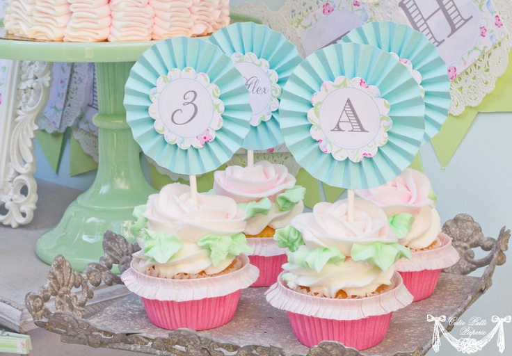 April Showers Party, Spring Party - 2inch PRINTABLE CUSTOMIZED CUPCAKE Toppers - Cutie Putti Paperie. $12.00, via Etsy.