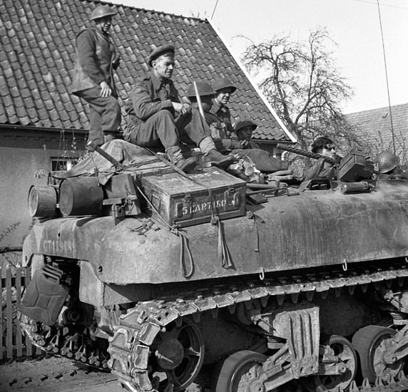 Kangaroo APC with Argyll & Sutherland Highlanders of Canada, Wertle, Germany, 11 Apr 1945.   (Library and Archives Canada Photo, MIKAN No. 3223906)