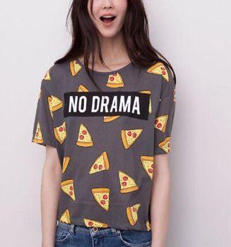 Mujeres pizza cartas print T camisa linda torta NO DRAMA tops camisetas de manga corta para camisas femininas tops DT172