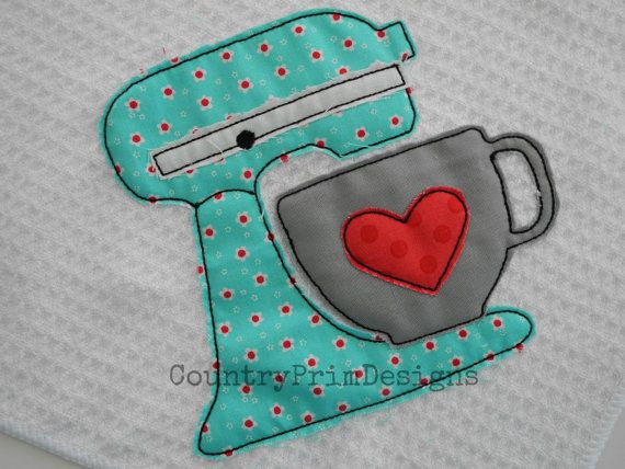 Raggy Mixer Applique, Country Kitchen Machine Applique Design, Country Embroidery, Prim Applique,