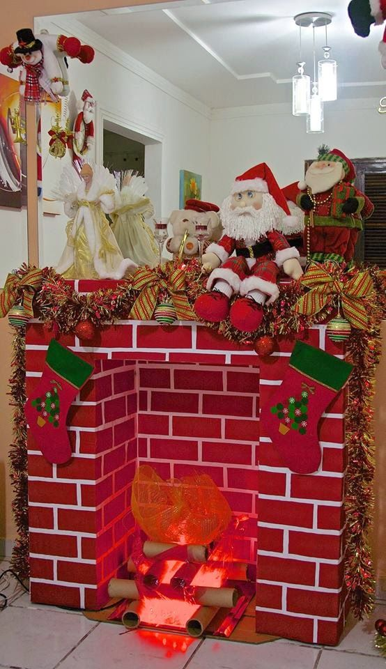 AMIGA DA EDUCAÇÃO.: Modelos e passo a passo de lareira de papelão. Natal encantado com sua arte!!!