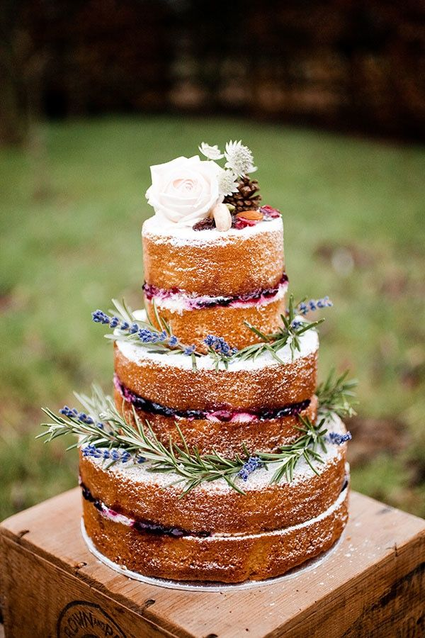 rustic naked wedding cakes