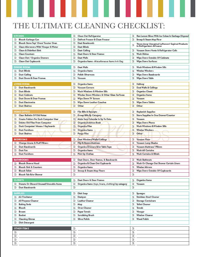 Best  Cleaning Checklist Printable Ideas On   House