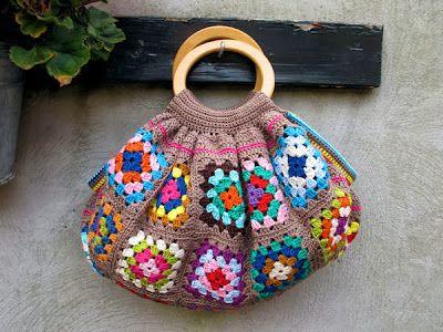 Blij dat ik brei: Eindelijk af: granny square tas