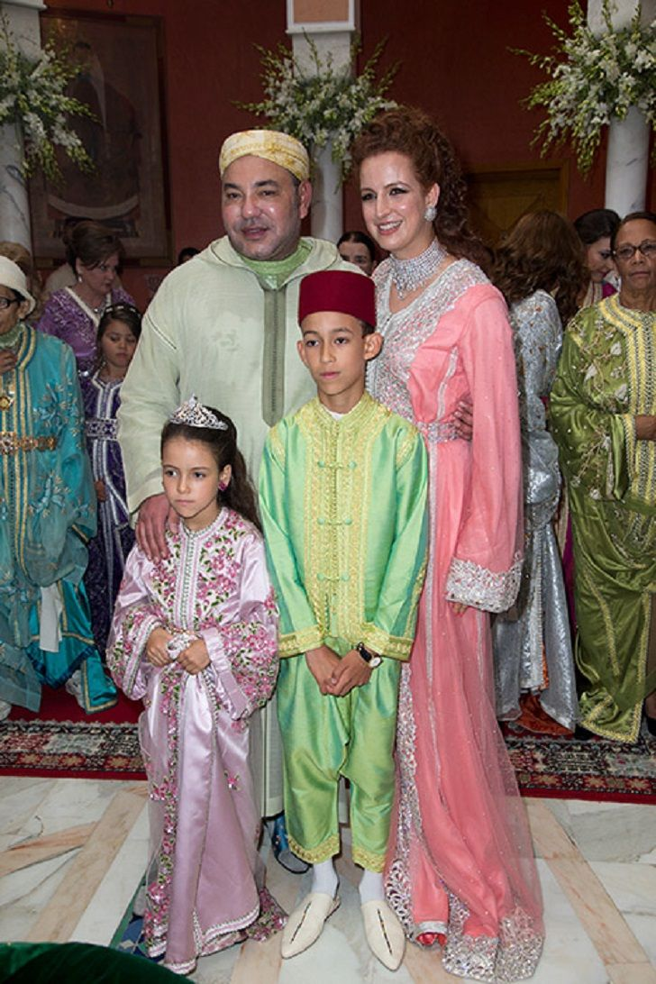 King Mohammed VI and Princess Lalla Salma and their two children Crown Prince Moulay Hassan and Princess Lalla Khadija attends the wedding of his niece Princess Lalla Soukaïna of Morocco on 28.05.2014
