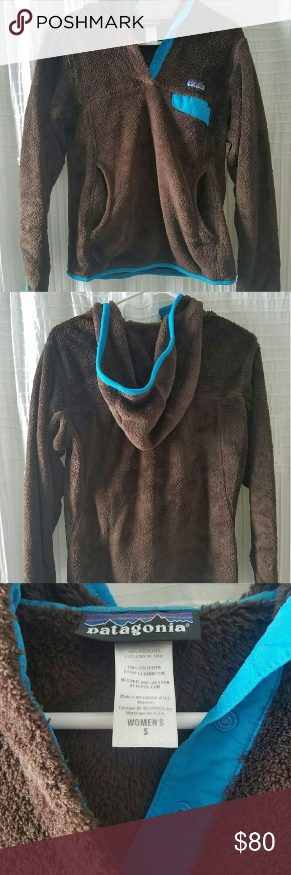 Patagonia Re-Tool Fleece Hooded Jacket OBO Dark Walnut with bright blue details. Hardly worn. Like new. Patagonia Jackets & Coats