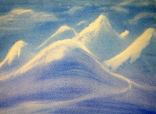 Age 11 ~ Ancient Inda ~ Himalaya Mountains ~ watercolor painting