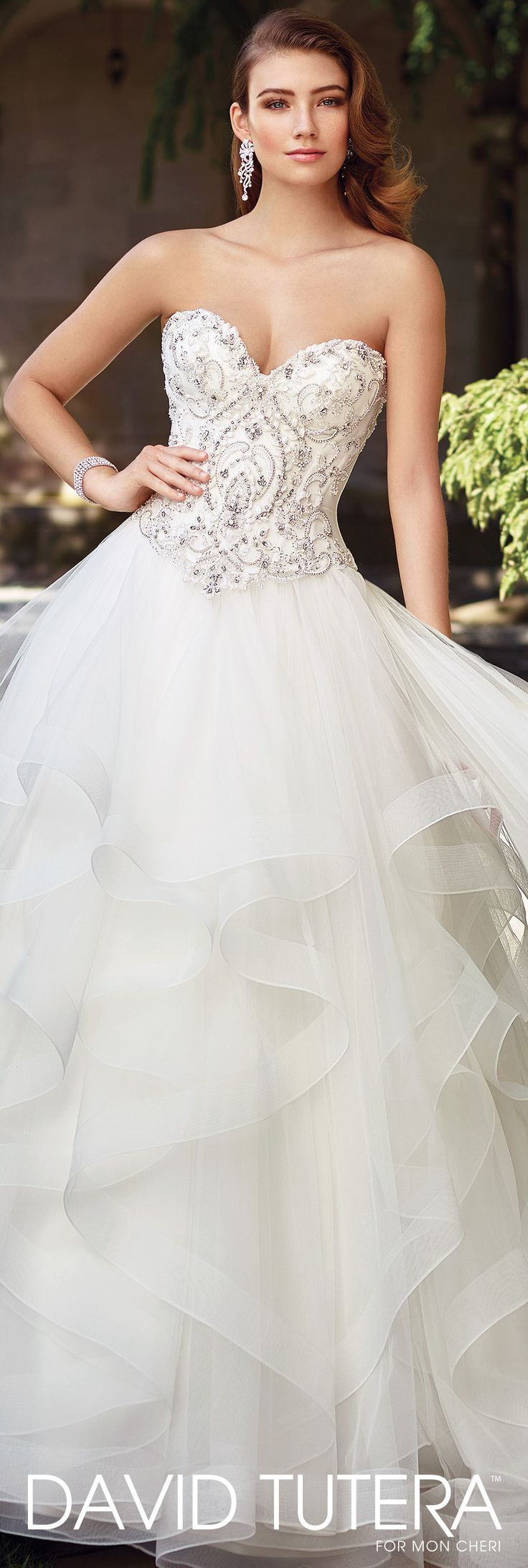 David Tutera for Mon Cheri Spring 2017 Collection - Style No. 117289 Charity - strapless tulle ball gown wedding dress with asymmetrically layered full skirt