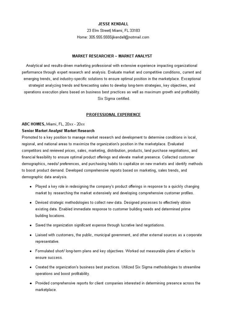 Sample Marketing Researcher Analyst Resume How to draft