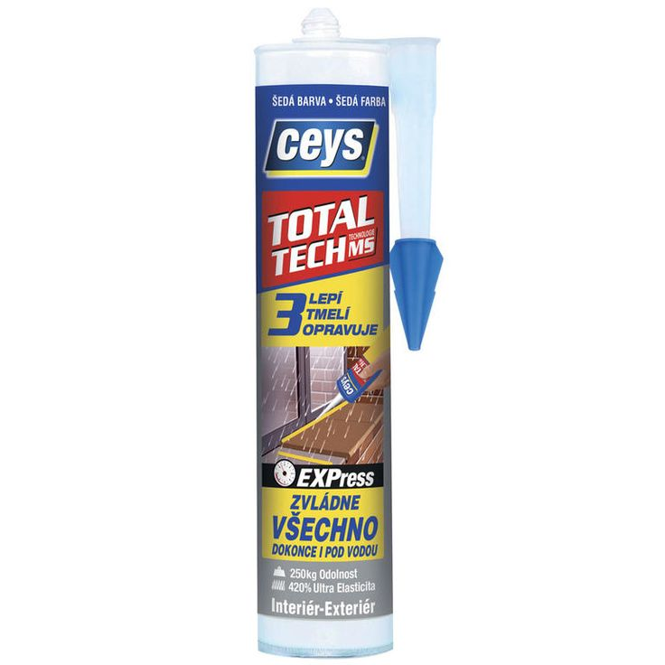 Stavební lepidlo a tmel Total Tech Express šedý 290 ml - lepí všechny materiály v interiéru i exteriéru opravuje a okamžitým účinkem šetrný k povrchůmStavební tmel (lepidlo) Total Tech Express vyvinut