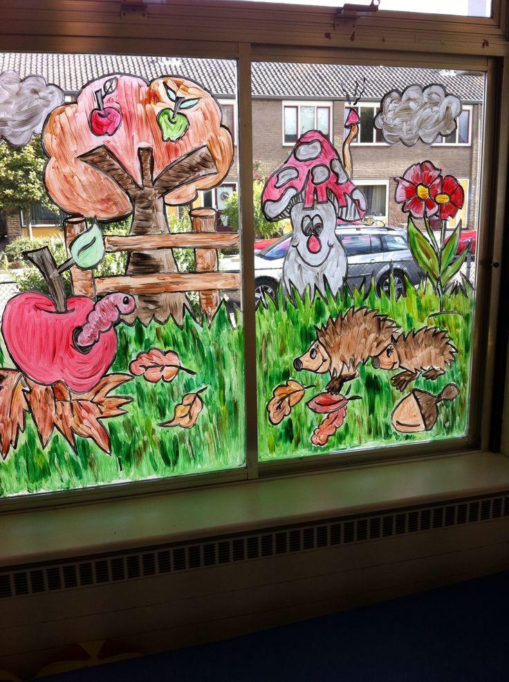 Raamschildering herfst , voor peuters ( appels , appelboom, paddestoel, egels )