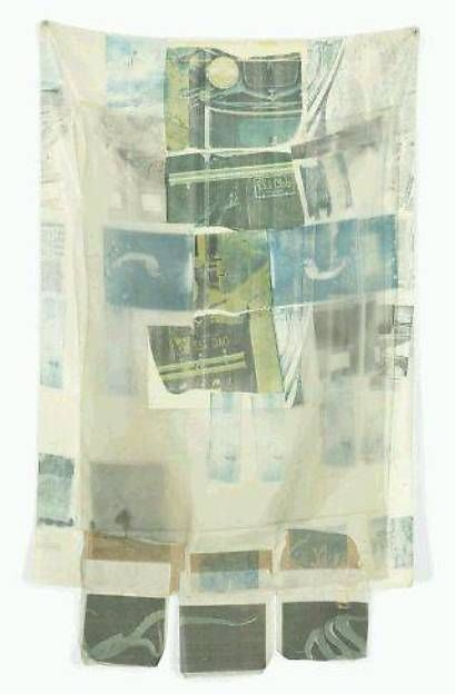 Coastal Draft (Hoarfrost) Artist: Robert Rauschenberg (American, Port Arthur, Texas 1925–2008 Captiva Island, Florida) Date: 1974 Medium: Offset and transfer printing on silk, paper, and linen with inscriptions in graphite  Dimensions: 85 × 51 5/8 in. (215.9 × 131.1 cm)
