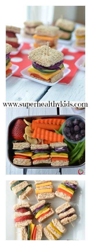 FOOD - Lunch Box Idea: Mini Rainbow Sandwiches. Great fun for kids with a variety of antioxidants! http://www.superhealthykids.com/lunch-box-idea-mini-rainbow-sandwiches/