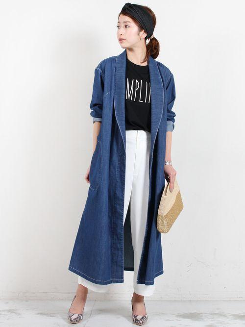 ロング丈のデニムコートを着こなしておしゃれ番長に♡冬のファッションアイテム デニムコート コーデを集めました♪