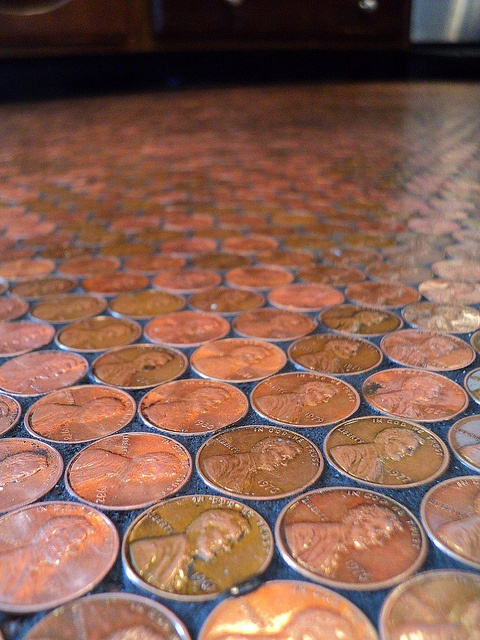 unusual kitchen flooring cool vinyl the finished penny floor mosaic copyrighted image copper colored pinterest flooring tiles and kitchen flooring