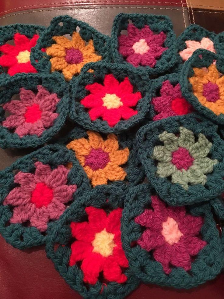 Granny Squares Crochet Flowers,  Vintage Style Pack Of 20   | eBay