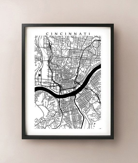 Cincinnati Map - Ohio Poster Print - Black and White - Miami University, Northern Kentucky University