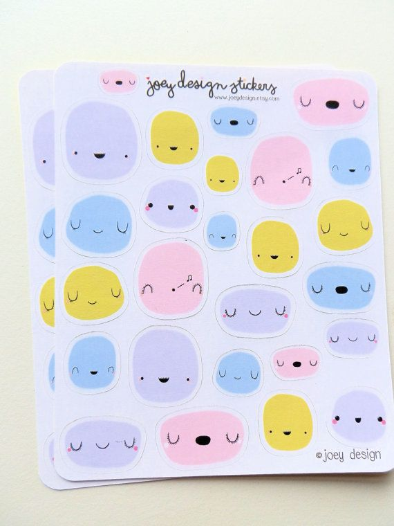 Cute stickers FACES little blobs paint splots by JoeyDesign
