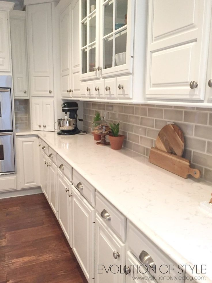 White Cabinets With Taupe Backsplash In 2020 Kitchen Cabinets Wood Kitchen Cabinets New Kitchen Cabinets