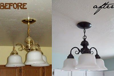 Lighting Makeover On a Budget....I'm totally doing it to all my ceiling fans instead!