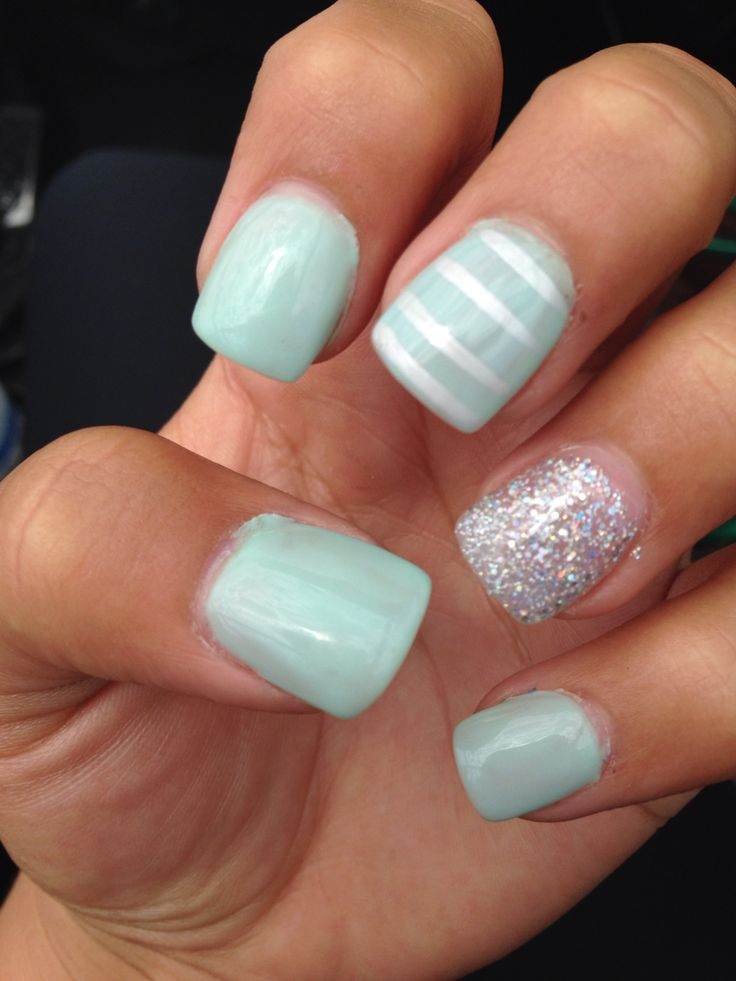 Gel acrylic nails, silver glitter , mint green. | Ideas ...