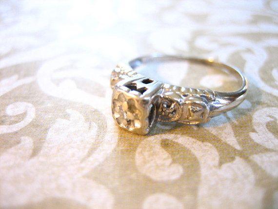 Art Deco 14K Gold Diamond Engagement Wedding Band by charmingellie, $196.00