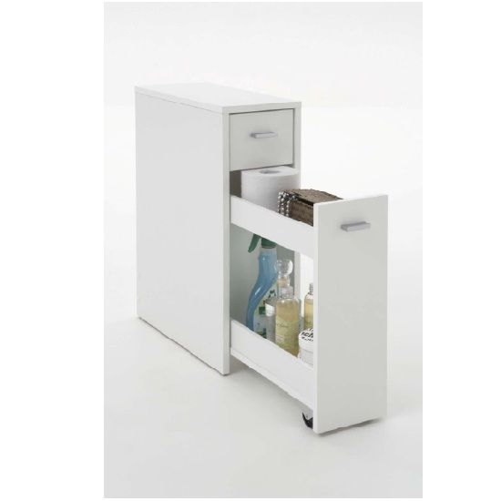 Denia Bathroom Storage Cabinet In White With Pull Out Module £59.95 #bathroomcabinet
