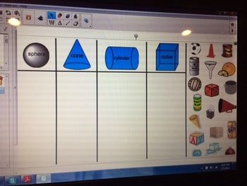 SMART Board Shape Sort for 3-D Shapes.