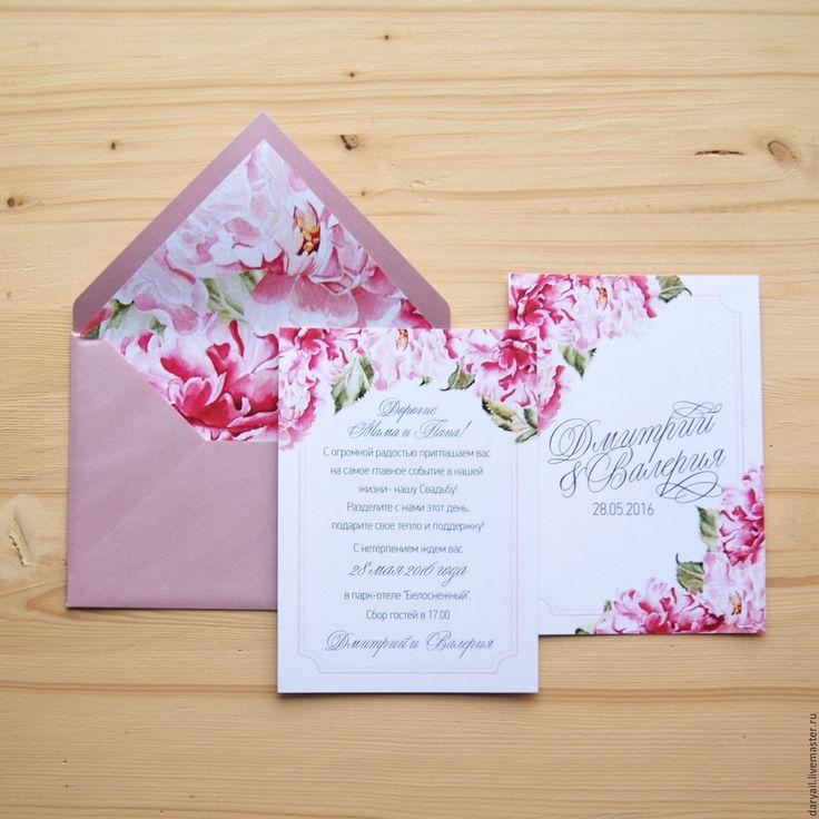 """Купить Приглашение на свадьбу """"Пионы"""" - бледно-розовый, приглашения на свадьбу, пригласительный, пригласительные открытки, приглашение"""