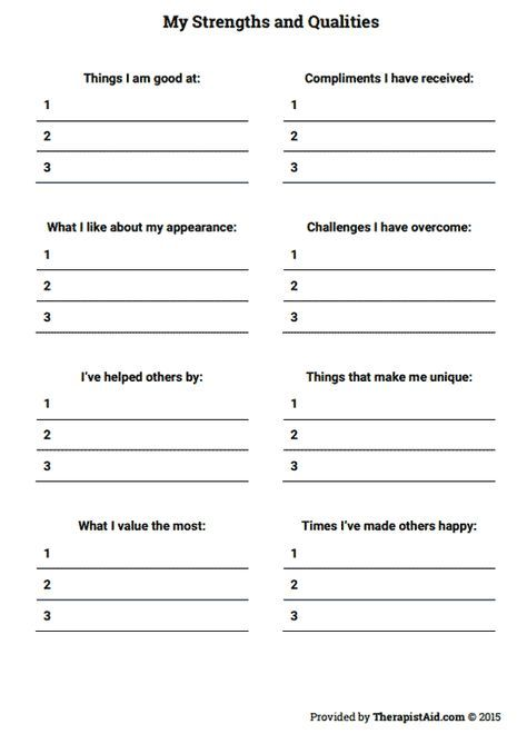 My Strengths And Qualities Worksheet Self Esteem