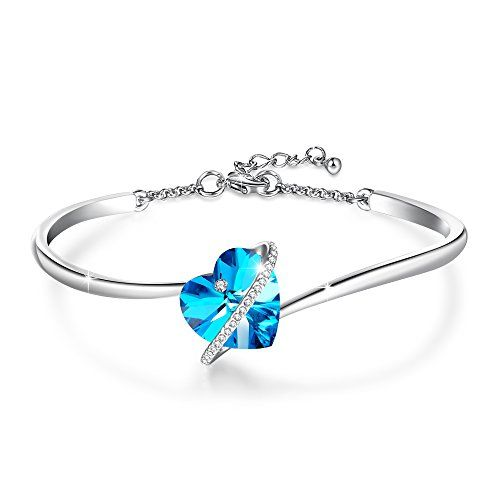 Love EchoBlue Purple Heart Bangle Bracelet with Swarovski Crystals Christmas Birthdays Wedding Anniversary Gifts for Women Girls Mother >>> More info could be found at the image url.-It is an affiliate link to Amazon. #ChristmasGift