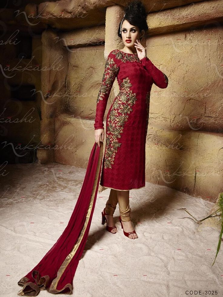 Red Nakkashi Semi Stiched Straight Salwar Kameez Dress