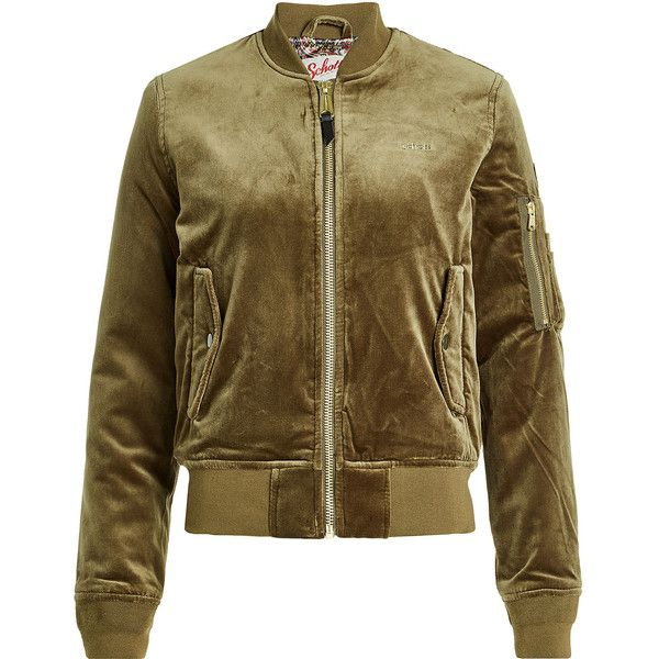Schott NYC Velvet Bomber Jacket (£225) ❤ liked on Polyvore featuring outerwear, jackets, green, flight bomber jacket, green bomber jackets, bomber jackets, green jacket and green velvet jacket