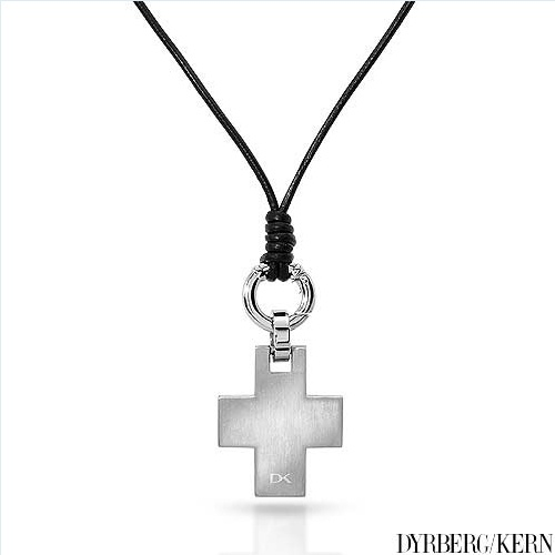 DYRBERG/KERN of DENMARK! Philip Collection Polished and Assembled by Hand Beautiful Brand New Mat Silver Finish Stainless Steel Plating Necklace with Leather