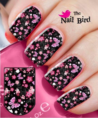 Nail-Wraps-Nail-Art-Nail-Decals-Nail-Transfers-Design-20-BlackPink-Multi-Flowers