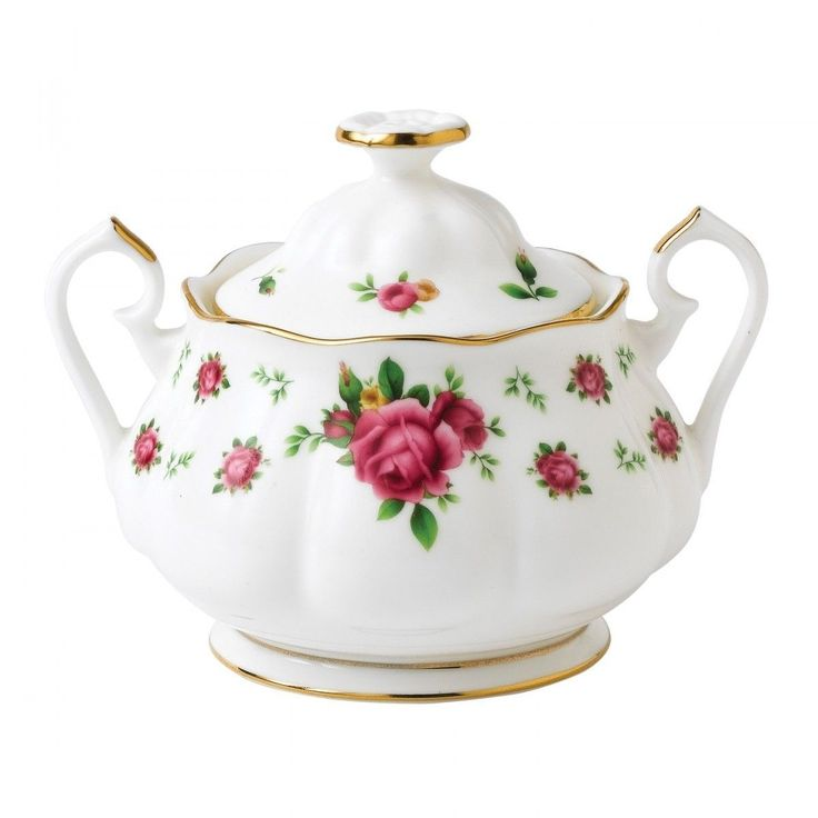 Royal Albert NEW COUNTRY ROSES WHITE Vintage Formal Sugar Bowl # 8702025865