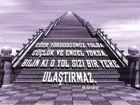 Eğer yürüdüğünüz yolda güçlük ve engel yoksa, bilin ki o yol sizi bir yere ulaştırmaz #engel #güçlük #başarımerdivenleri #BernardShaw #melikepekmezci #ilhamverennotlar