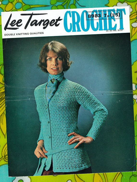 Original Vintage 1970s Womens Ladies Crochet Pattern Lacy Blue