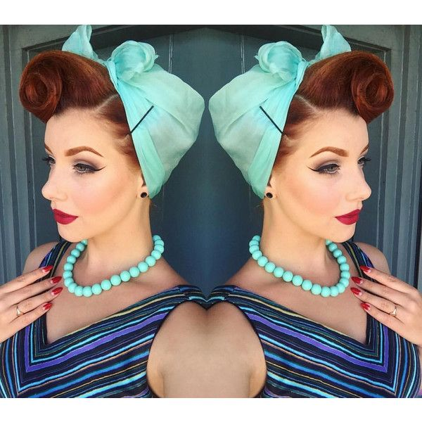 Vintage Aqua Blue Head Scarf retro burlesque Pin Up rockabilly pinup... ($9.99) ❤ liked on Polyvore featuring accessories, vintage handkerchiefs and vintage bandana